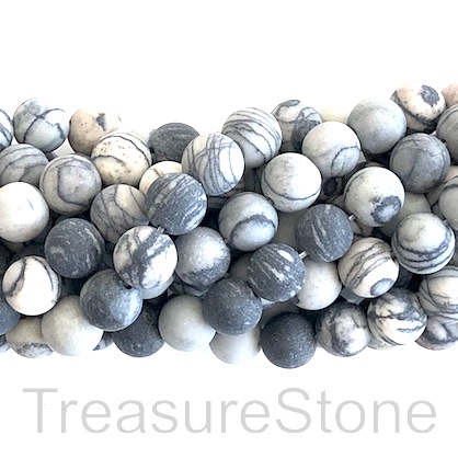 Bead, black line jasper, matt, 8mm round. 15-inch, 47pcs.