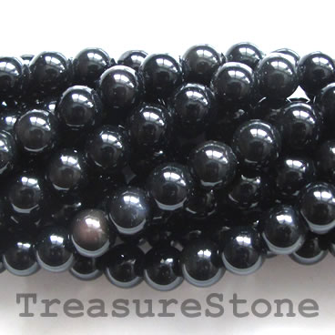 Bead, black obsidian, 6mm round. 15.5-inch, 63pcs