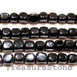 Bead, black onyx, 7mm block. 16-inch strand.