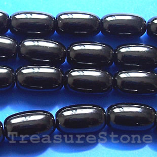 Bead, black Onyx, drum. 11x18mm, 16 inch