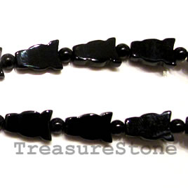 Bead, black onyx, 8x12mm fish. 16 inch strand.