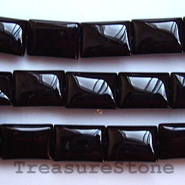 Bead, black onyx. Grade A. 10x13mm rectangle, 16 inch strand.