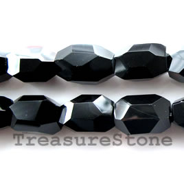 Bead, black onyx, 11x17mm faceted nugget, A grade, 16-inch.
