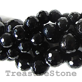 Bead, black onyx, 8mm faceted round, A grade. 16-inch strand.