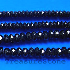 Bead, black Onyx, faceted rondelle. 3x6mm, 16 inch.