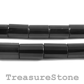 Bead, black onyx, 8x12mm faceted tubes. 16-inch strand.