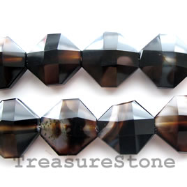 Bead, black onyx, 22mm faceted hexagon. A grade. 16-inch strand.