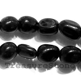 Bead, black onyx nuggets 2. about 10x11mm, 16 inch strand.