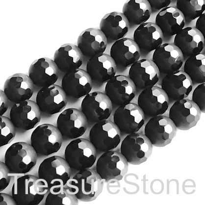 Bead, frost black onyx, 8mm round, pattern 3. 15.5 inch, 48pcs