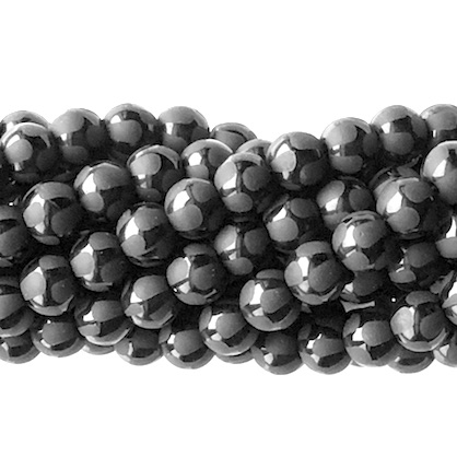 Bead, frost black onyx, 10mm round, pattern 4. 15 inch, 39pcs