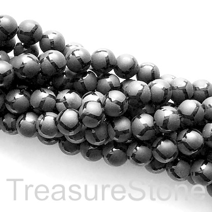 "Bead, frost black onyx, matte,8mm round, pattern 5. 15.5"", 48pcs"
