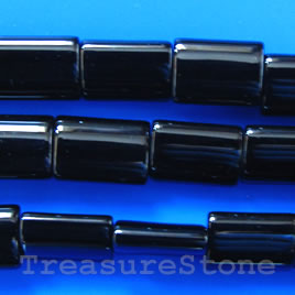 Bead, black onyx, 10x13mm puffy rectangle. Grade A. 16 inch.