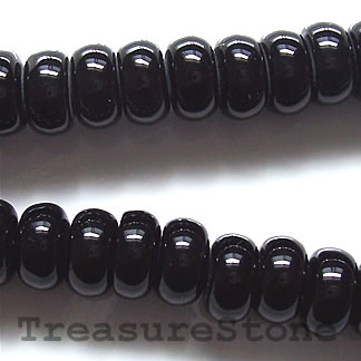 Bead, black onyx, 5x8mm rondelle. Grade A. 16 inch strand.