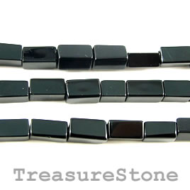 Bead, black Onyx, square tube. 4x8mm, 14 inch