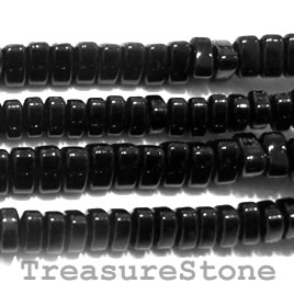 Bead, black onyx, 10x5mm triangle heishi. 16 inch strand.