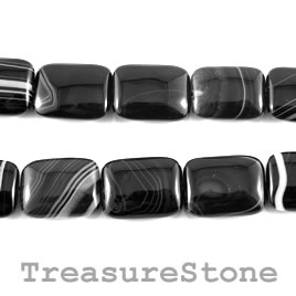 Bead, black sardonyx, rectangle. 15x20mm, 16 inch