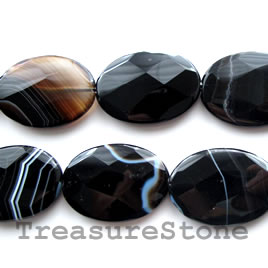 Bead, black sardonyx, 25x34mm faceted oval. 16-inch, 11pcs