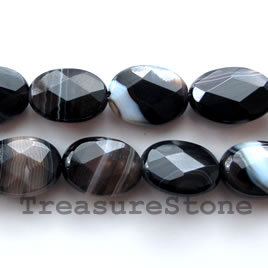 Bead, black sardonyx, 13x18mm faceted puffed oval. 16-inch.