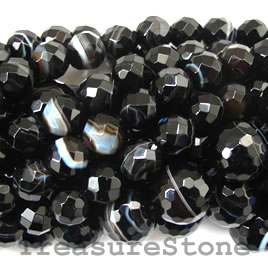 Bead, black sardonyx, 12mm faceted round. 16-inch strand.