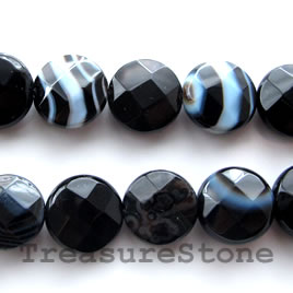 Bead, black sardonyx, 12mm faceted puffed round. 16-inch strand.