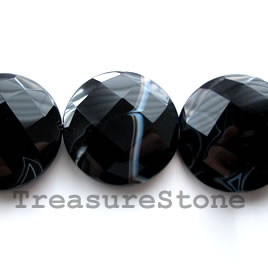 Bead, black sardonyx, 40 mm faceted flat round. 16-inch, 10pcs.