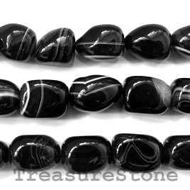 Bead, black sardonyx, 15x20mm nugget. 16-inch strand.
