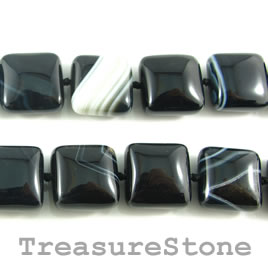 Bead, black Sardonyx, puffed pillow. 18mm, 20pcs