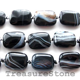Bead, black Sardonyx, 10x14mm rectangle. 16- inch strand.