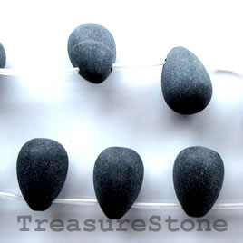 Bead, frost blackstone/ black jasper, 12x16mm teardrop. 18pcs - Click Image to Close