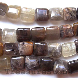 Bead, black sunstone, 15mm flat square. 16-inch strand.