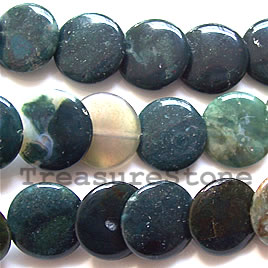 Bead, blood stone, 15mm angle-drilled flat round. 16-inch.