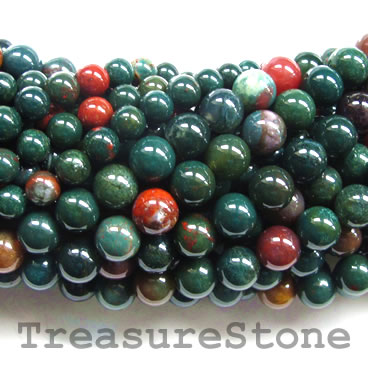 Bead, blood stone, 6mm round, Grade A. 16-inch strand.