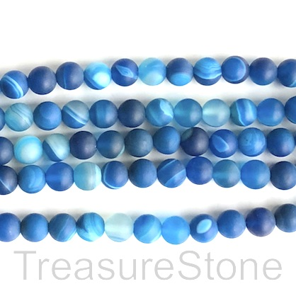 Bead, agate,dyed, blue, 8mm round, matte, frosted. 15.5-inch, 48