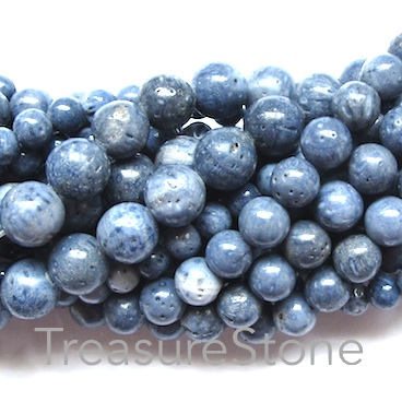 Bead, blue coral, 8mm round. 16 inch strand.
