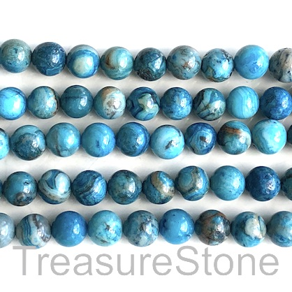 Bead, blue crazy lace agate, dyed, 8mm round. 15.5 inch, 48pcs