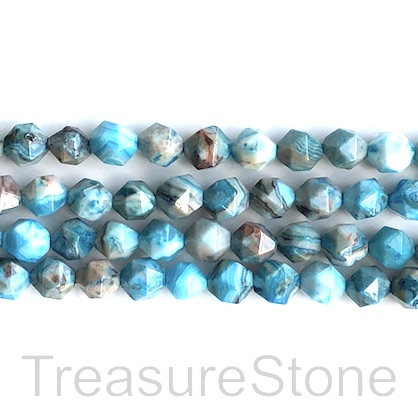 Bead, crazy lace agate, blue, dyed, 7x8mm, star cut,15.5 inch,49