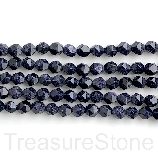 Bead, blue goldstone, 7x8mm faceted, star cut. 15-inch, 50pcs