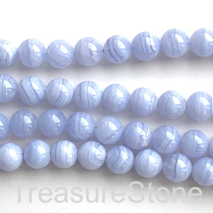 Bead, blue lace agate, Chalcedony, 10mm round. 15-inch, 38pcs