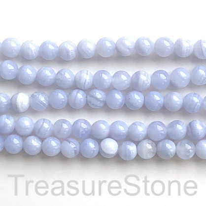 "Bead, blue lace agate, Chalcedony, 8mm round, A-. 16"", 50pcs"