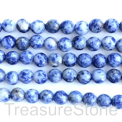 Bead, blue spot jasper, 8mm faceted round. 15-inch, 48pcs