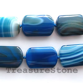 Bead, agate (dyed), blue, 14x23mm puffed. 16-inch strand.