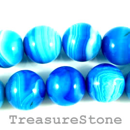 Bead, agate (dyed), blue, 20mm round. 15.5-inch