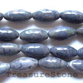 Bead, blue coral, 10x20mm oval. 16 inch strand.