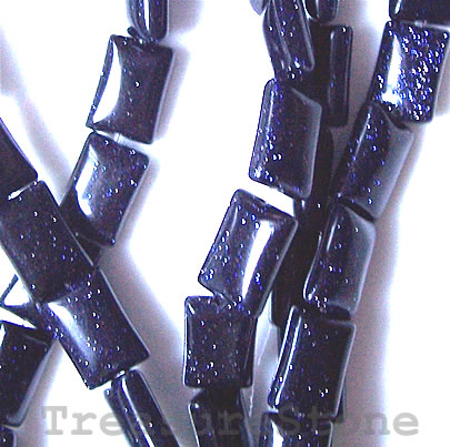 Bead, blue goldstone, 8x12mm puffed rectangle. 16-inch strand.