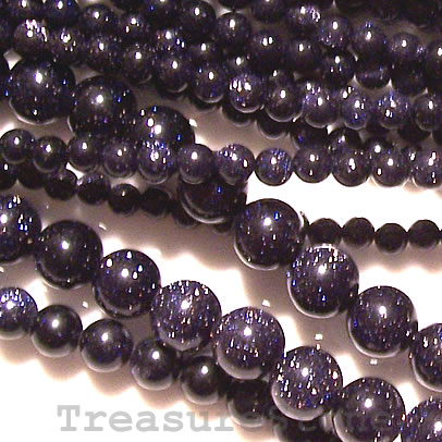 Bead, blue goldstone, 3mm round. 15.5-inch, 125 beads