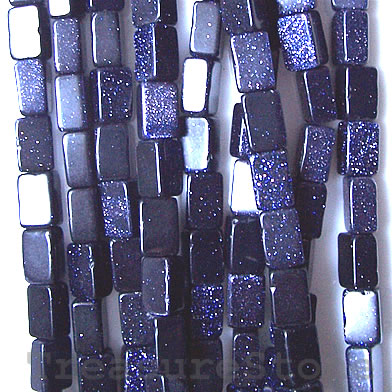 Bead, blue goldstone, 5x9mm flat rectangle. 16-inch strand.