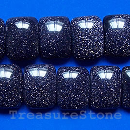 Bead,blue goldstone,12x18x7mm double-drilled. Sold per pkg of 30