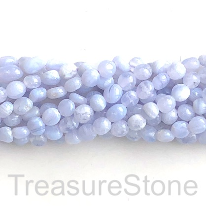 Bead, blue lace agate, Chalcedony, about 6mm nugget. 15.5-inch