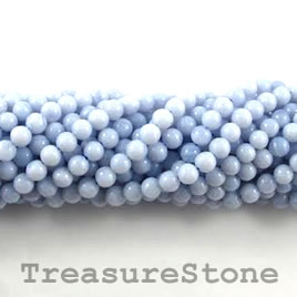 Bead, blue lace agate, 4mm round. 16-inch strand.