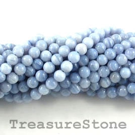Bead, blue lace agate, 6mm round. 16-inch strand.